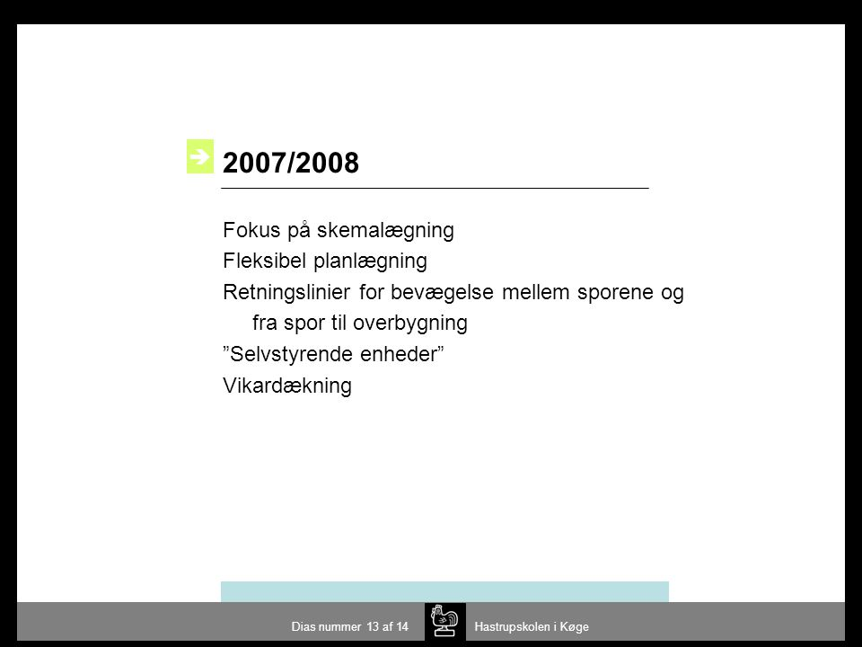 2007/2008  Fokus på skemalægning Fleksibel planlægning