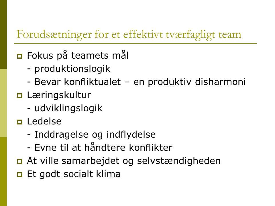 Forudsætninger for et effektivt tværfagligt team