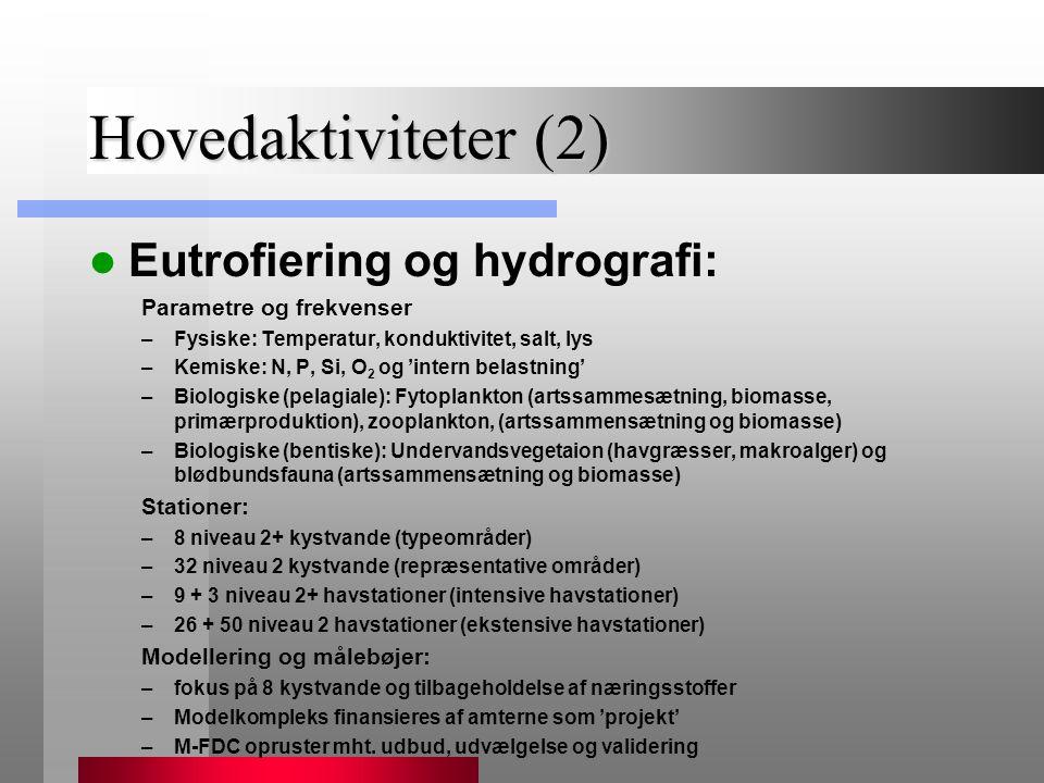 Hovedaktiviteter (2) Eutrofiering og hydrografi: