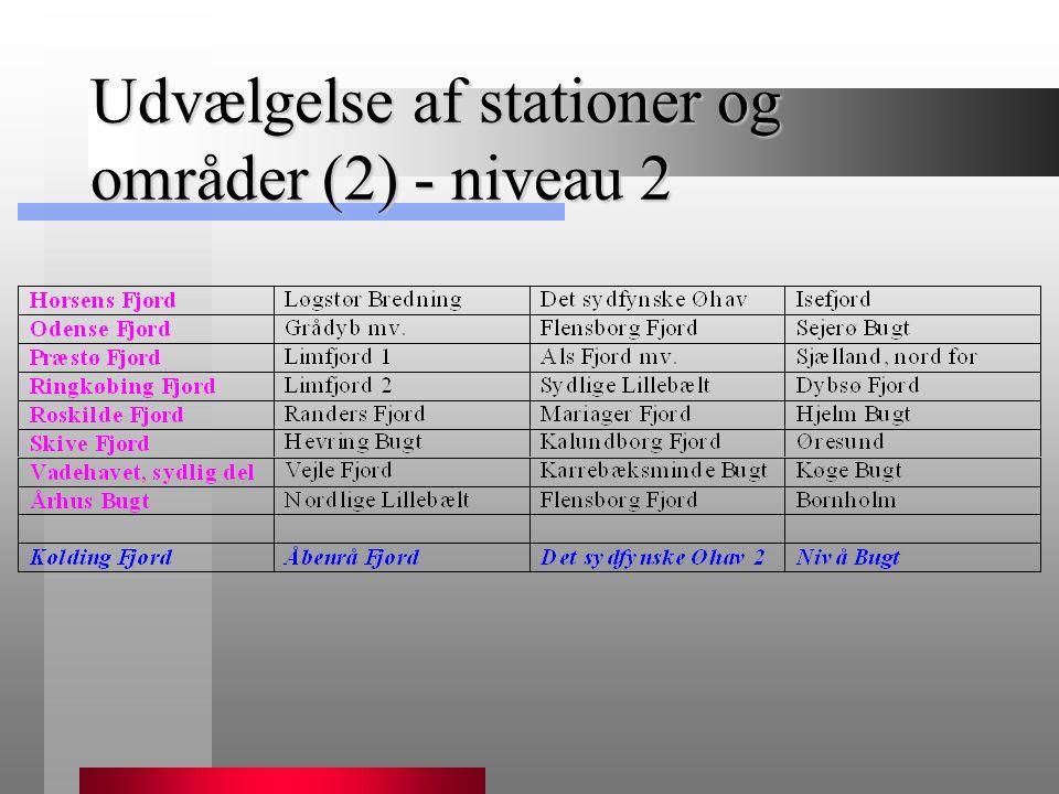 Udvælgelse af stationer og områder (2) - niveau 2