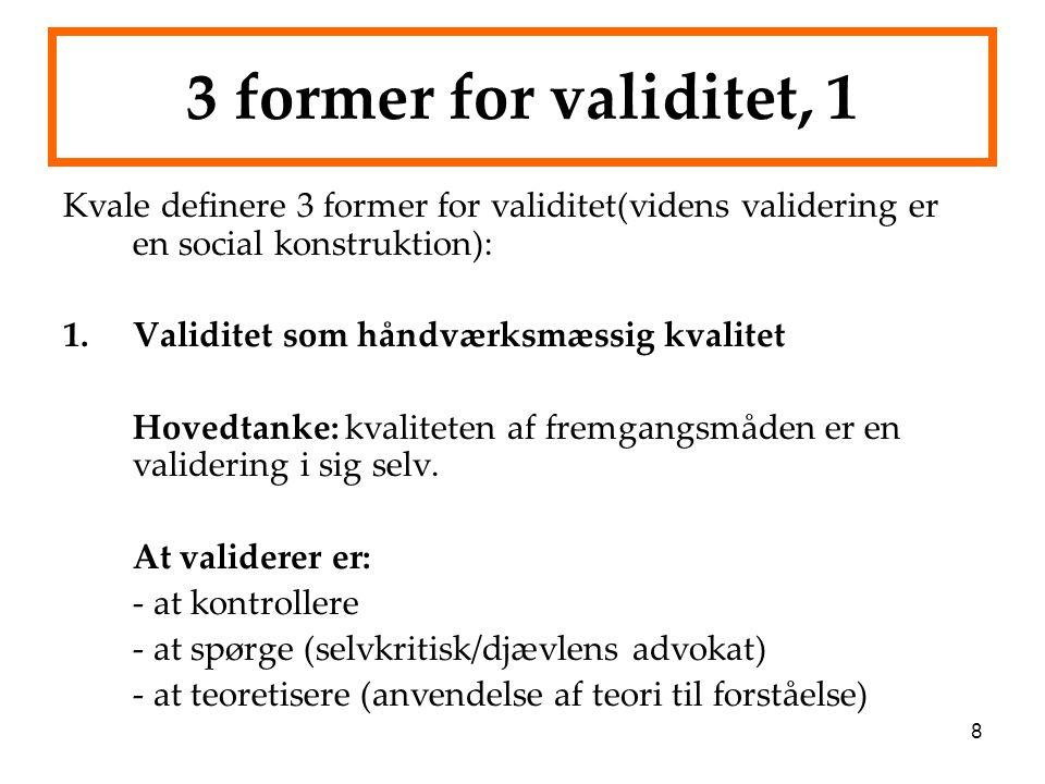 3 former for validitet, 1 Kvale definere 3 former for validitet(videns validering er en social konstruktion):