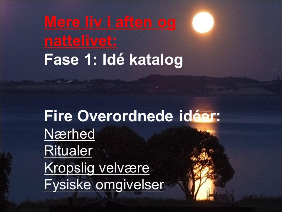 Mere liv i aften og nattelivet: Fase 1: Idé katalog