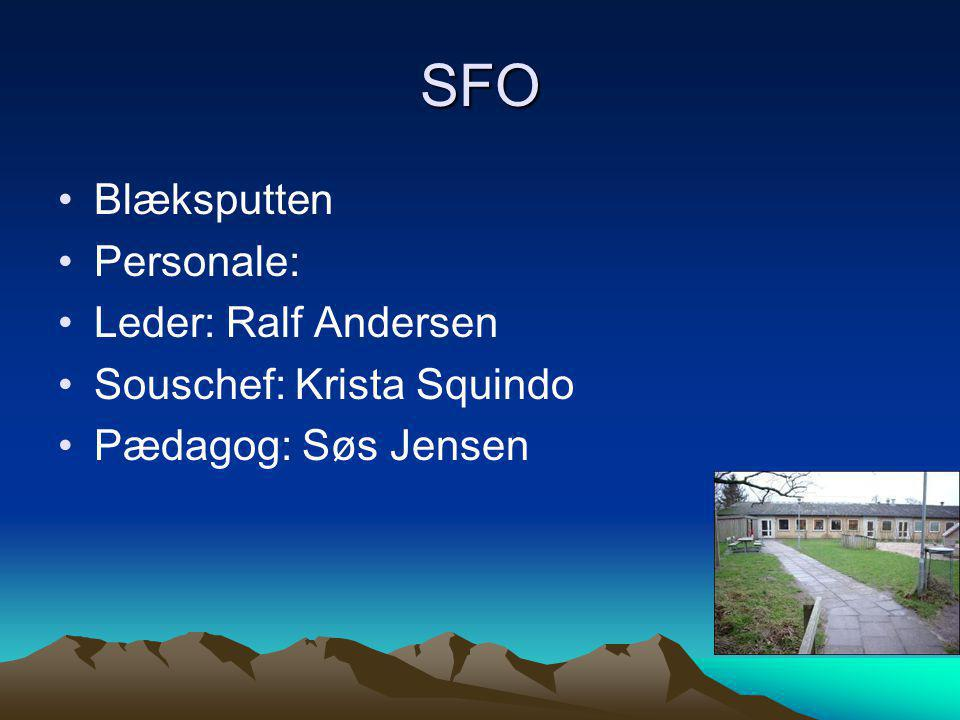SFO Blæksputten Personale: Leder: Ralf Andersen