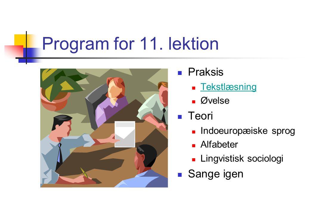 Program for 11. lektion Praksis Teori Sange igen Tekstlæsning Øvelse