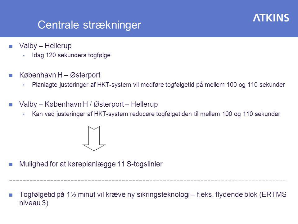 Centrale strækninger Valby – Hellerup København H – Østerport