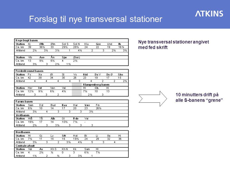 Forslag til nye transversal stationer