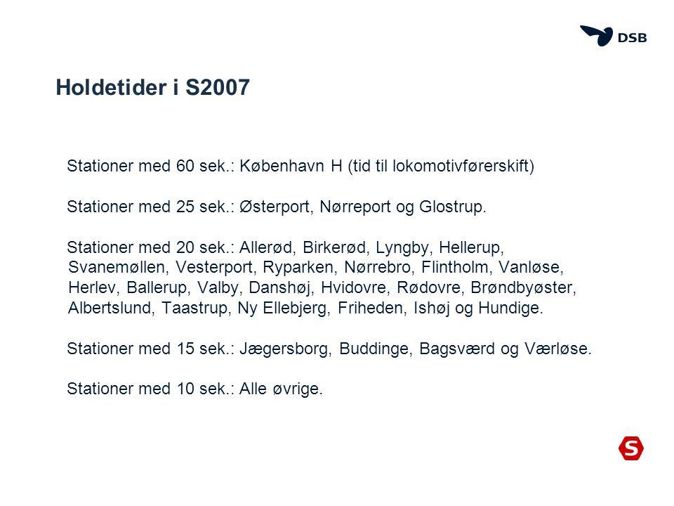 Holdetider i S2007 Stationer med 60 sek.: København H (tid til lokomotivførerskift) Stationer med 25 sek.: Østerport, Nørreport og Glostrup.