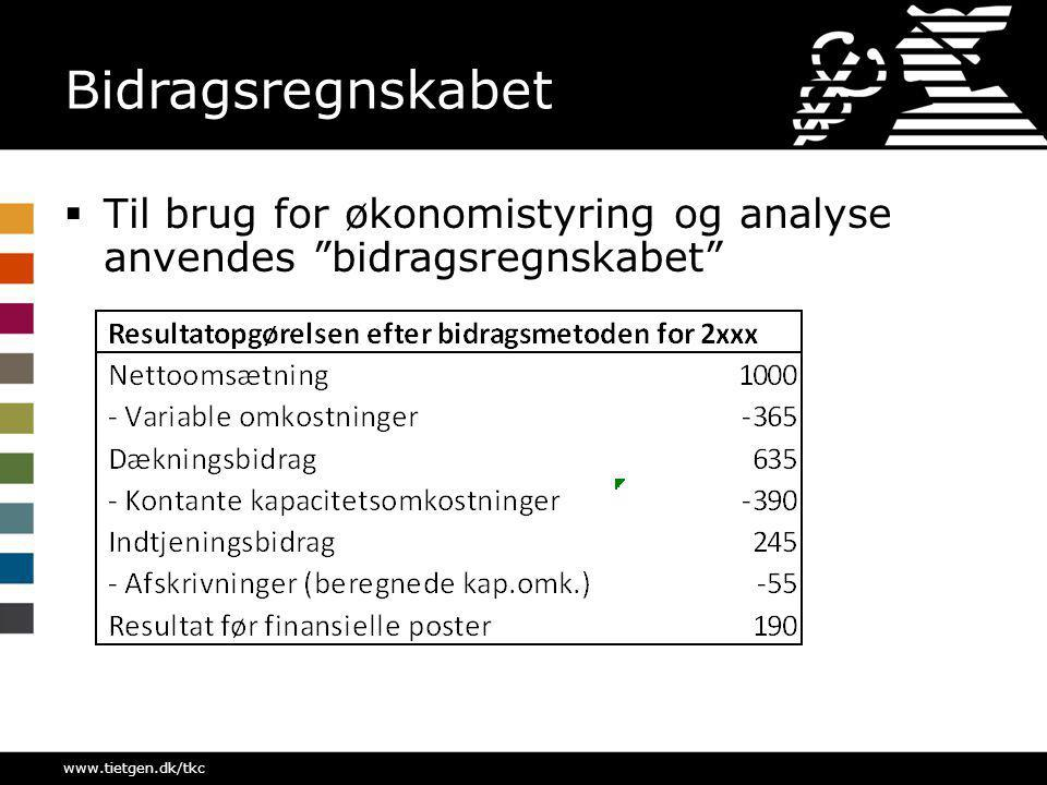 Bidragsregnskabet Til brug for økonomistyring og analyse anvendes bidragsregnskabet