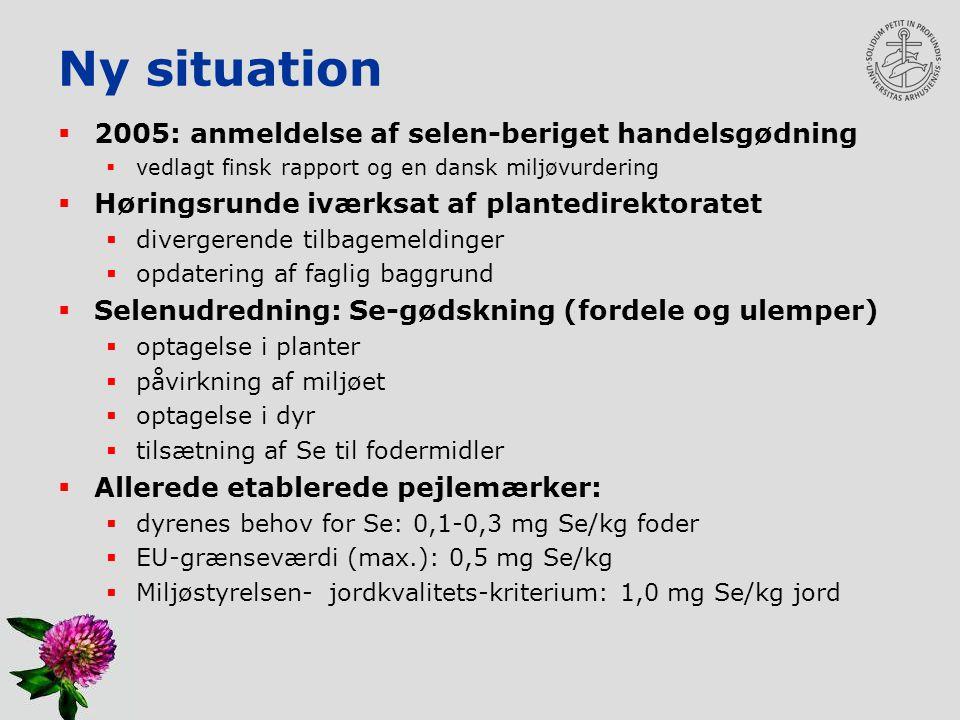 Ny situation 2005: anmeldelse af selen-beriget handelsgødning