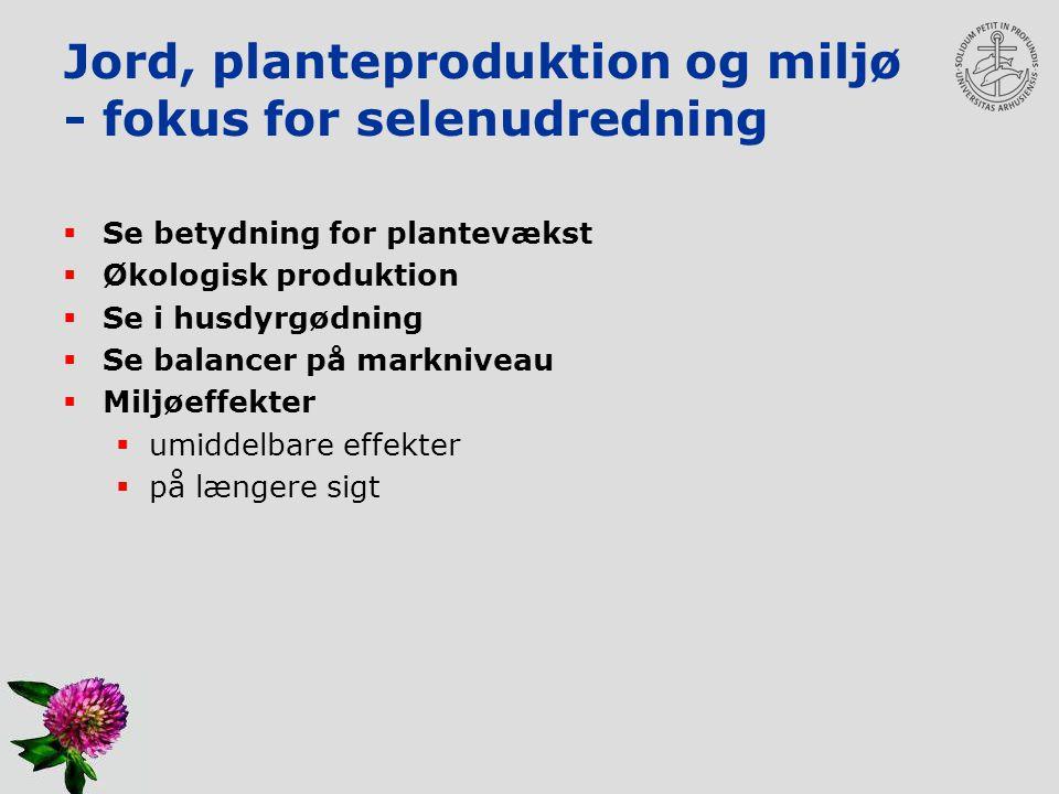Jord, planteproduktion og miljø - fokus for selenudredning