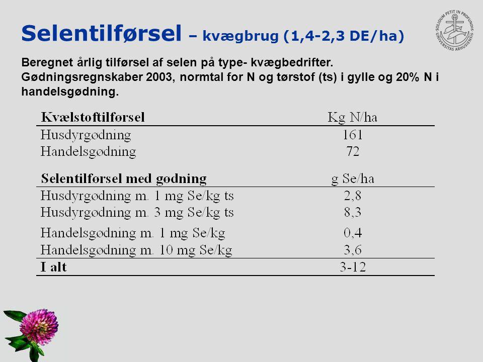 Selentilførsel – kvægbrug (1,4-2,3 DE/ha)