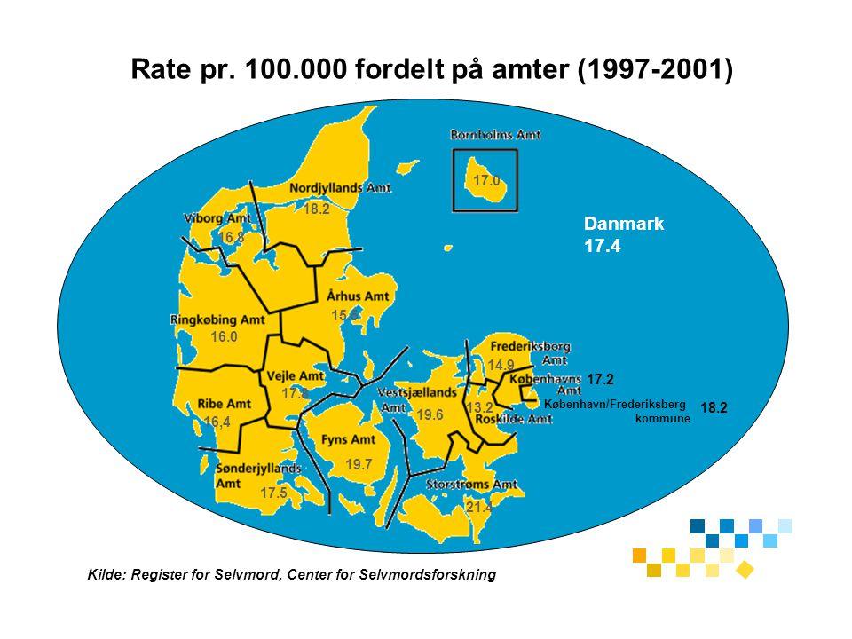 Rate pr. 100.000 fordelt på amter (1997-2001)