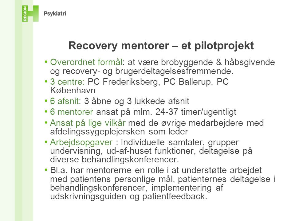 Recovery mentorer – et pilotprojekt