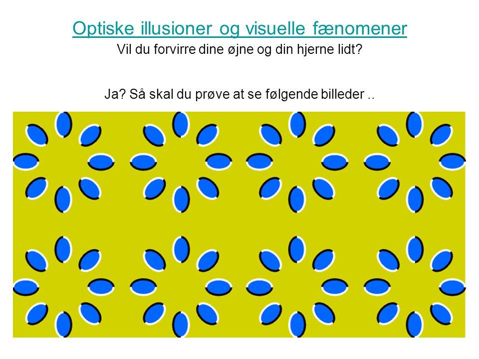 Optiske illusioner og visuelle fænomener Vil du forvirre dine øjne og din hjerne lidt.