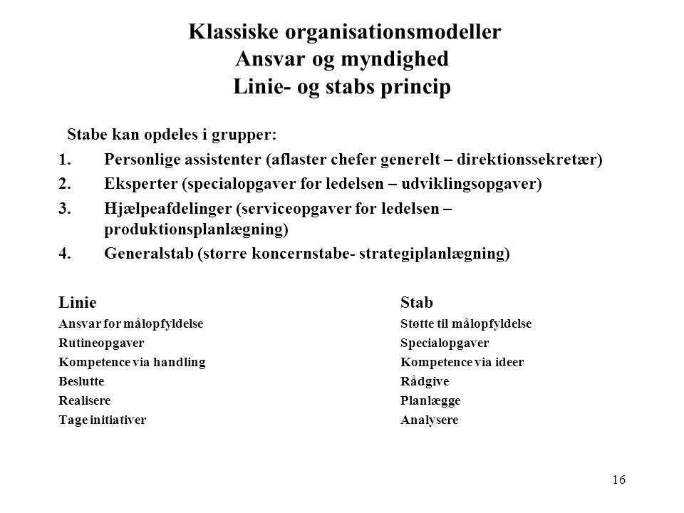 Klassiske organisationsmodeller Ansvar og myndighed Linie- og stabs princip