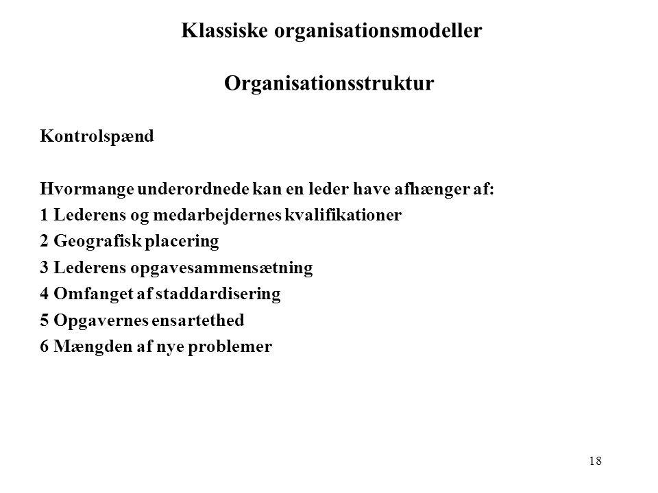 Klassiske organisationsmodeller Organisationsstruktur