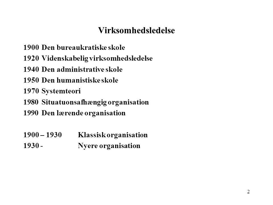 Virksomhedsledelse 1900 Den bureaukratiske skole