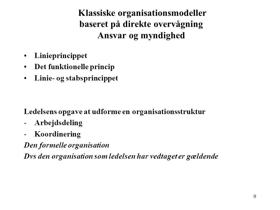Klassiske organisationsmodeller baseret på direkte overvågning Ansvar og myndighed