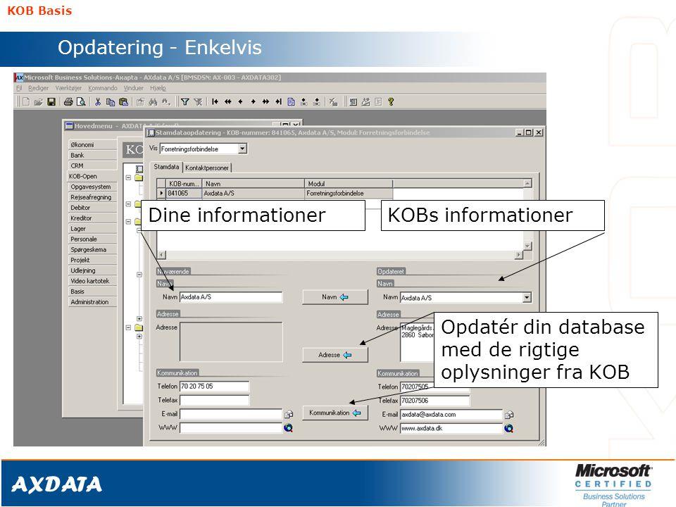Opdatér din database med de rigtige oplysninger fra KOB