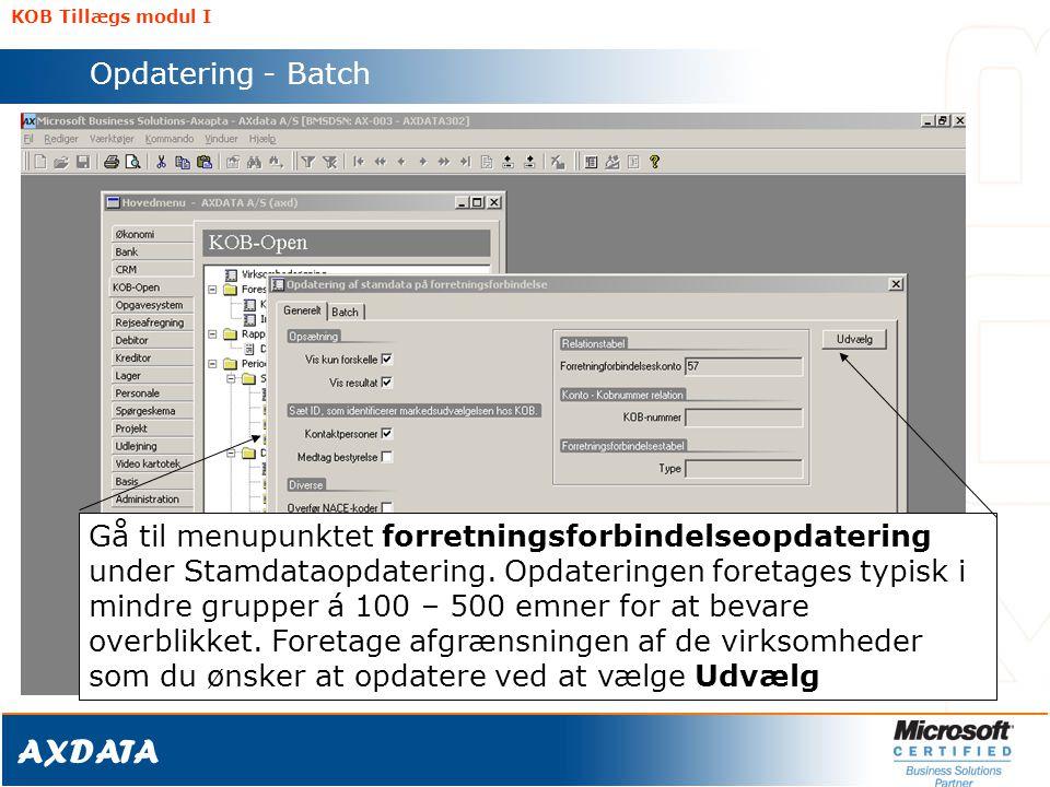 KOB Tillægs modul I Opdatering - Batch.