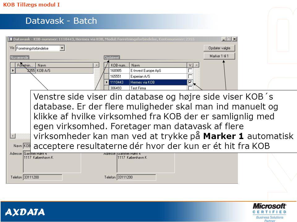 KOB Tillægs modul I Datavask - Batch.