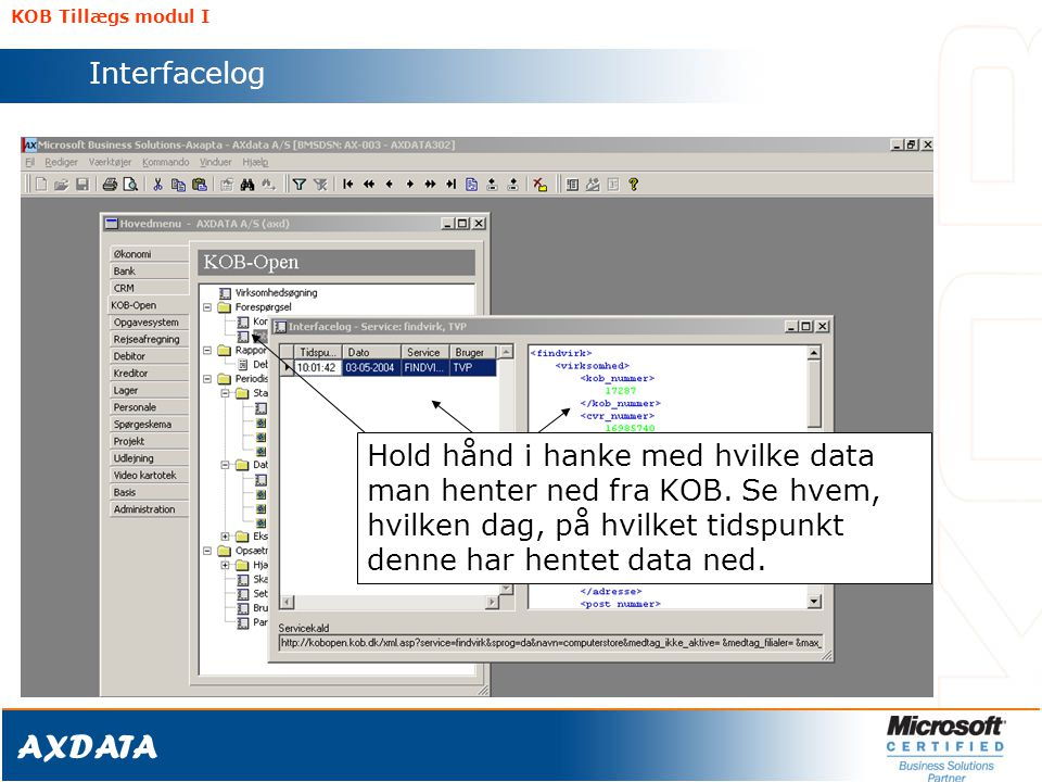 KOB Tillægs modul I Interfacelog.