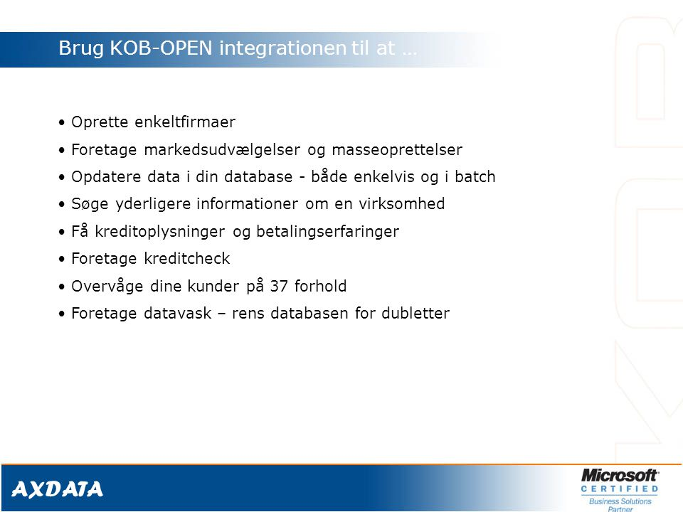 Brug KOB-OPEN integrationen til at …