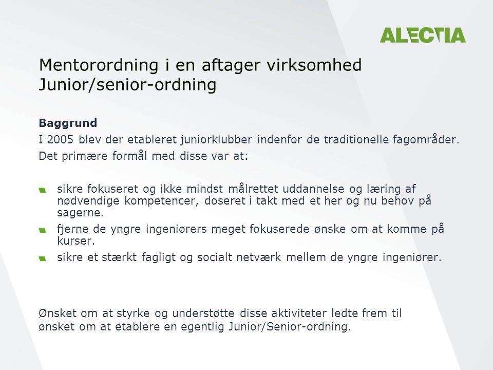 Mentorordning i en aftager virksomhed Junior/senior-ordning