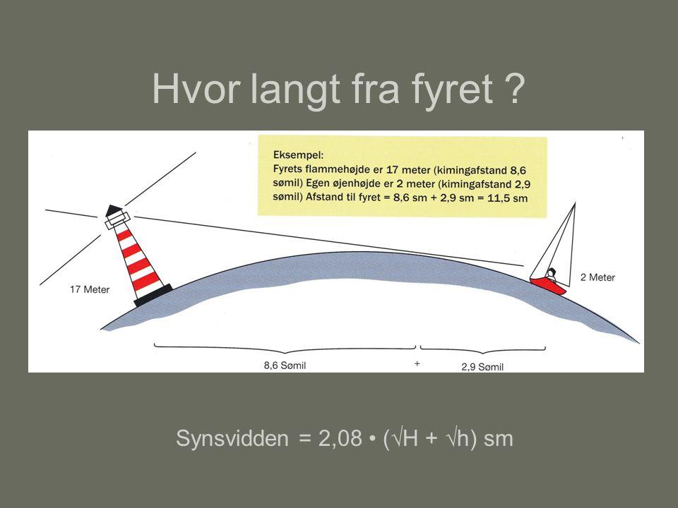 Synsvidden = 2,08 • (√H + √h) sm
