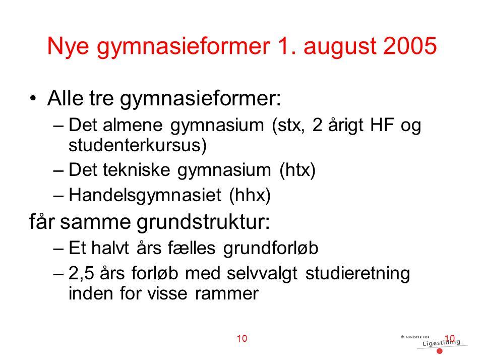Nye gymnasieformer 1. august 2005