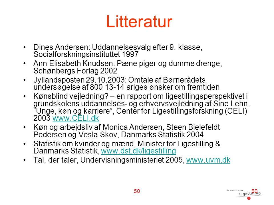 Litteratur Dines Andersen: Uddannelsesvalg efter 9. klasse, Socialforskningsinstituttet 1997.