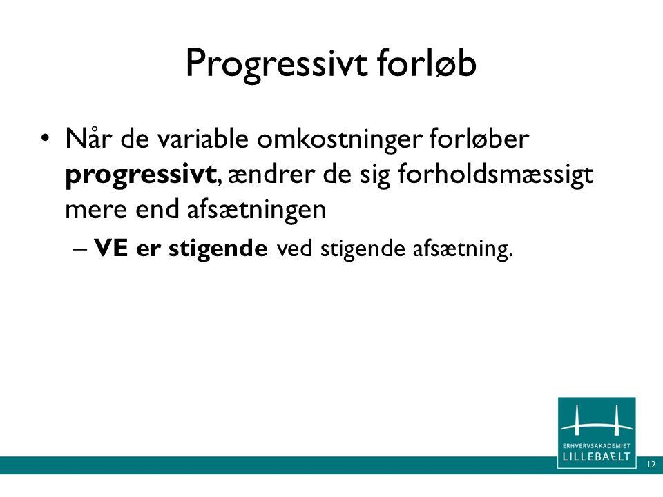 Progressivt forløb Når de variable omkostninger forløber progressivt, ændrer de sig forholdsmæssigt mere end afsætningen.