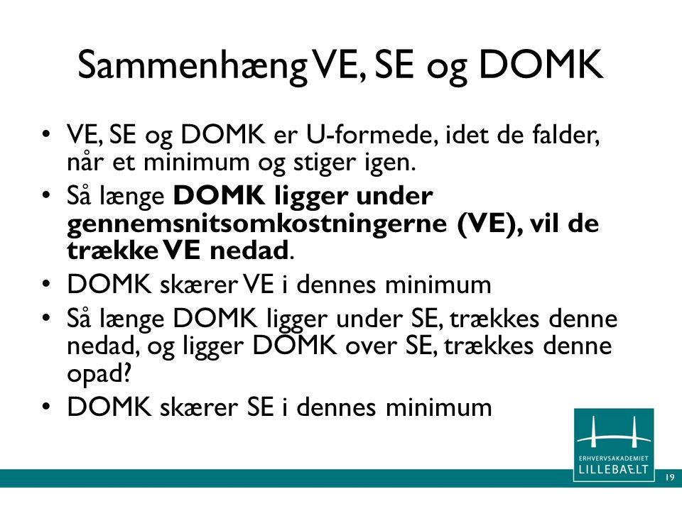 Sammenhæng VE, SE og DOMK