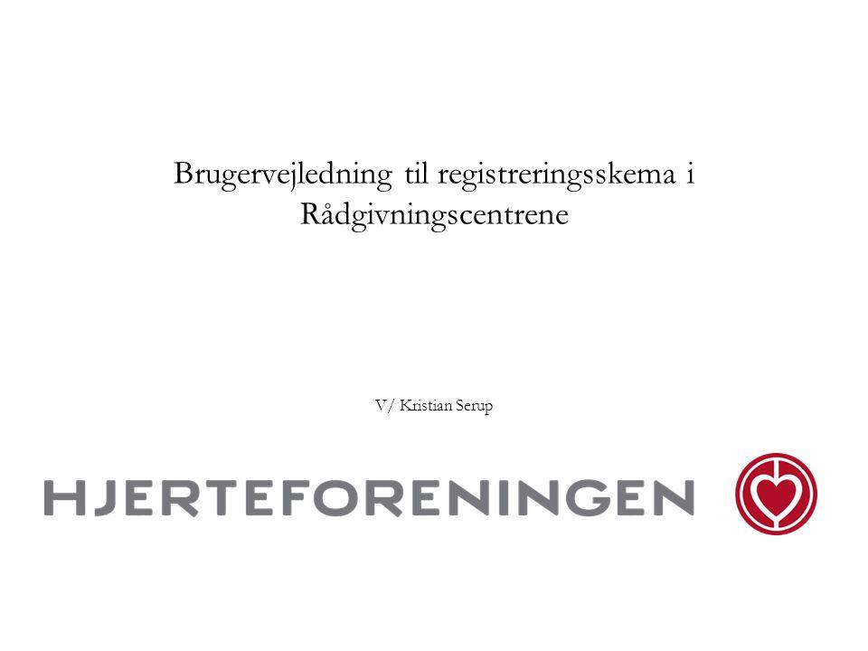 Brugervejledning til registreringsskema i Rådgivningscentrene V/ Kristian Serup