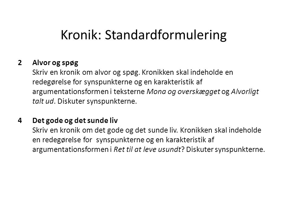 Kronik: Standardformulering
