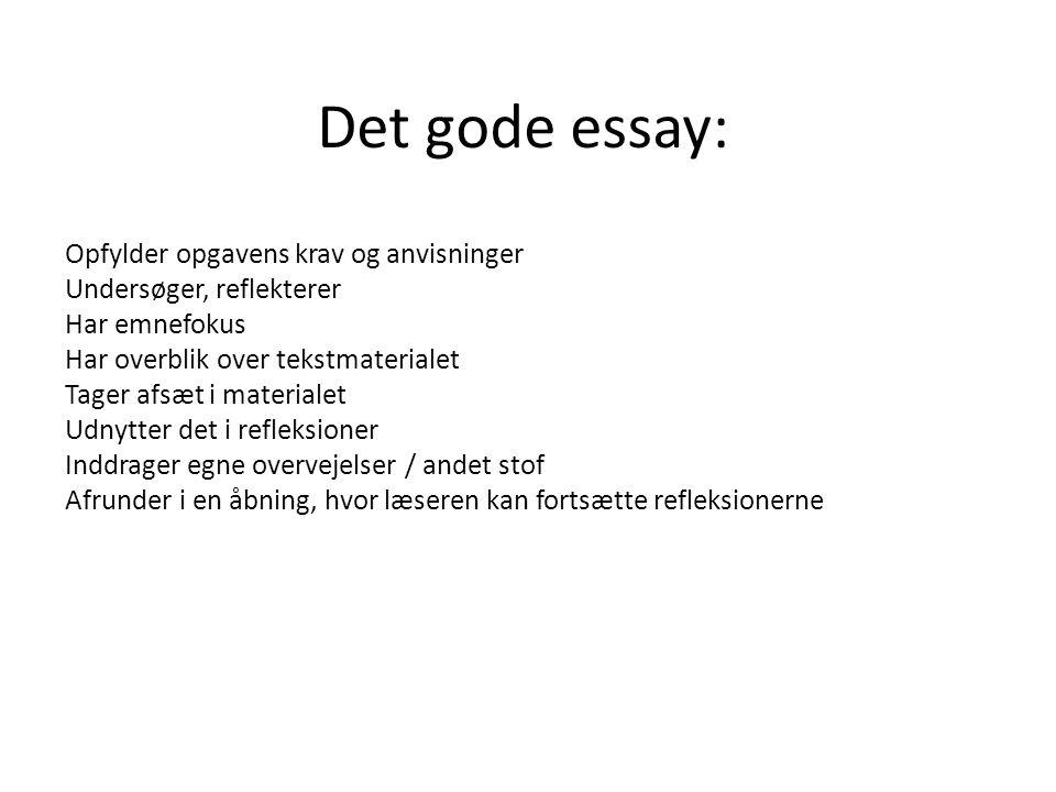 Det gode essay: Opfylder opgavens krav og anvisninger