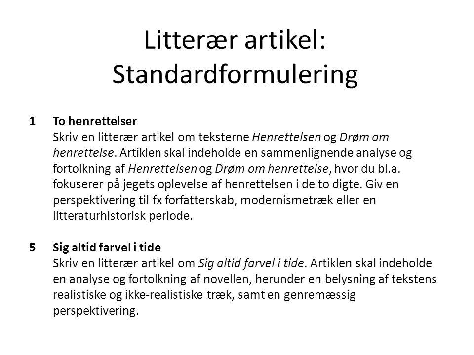 Litterær artikel: Standardformulering