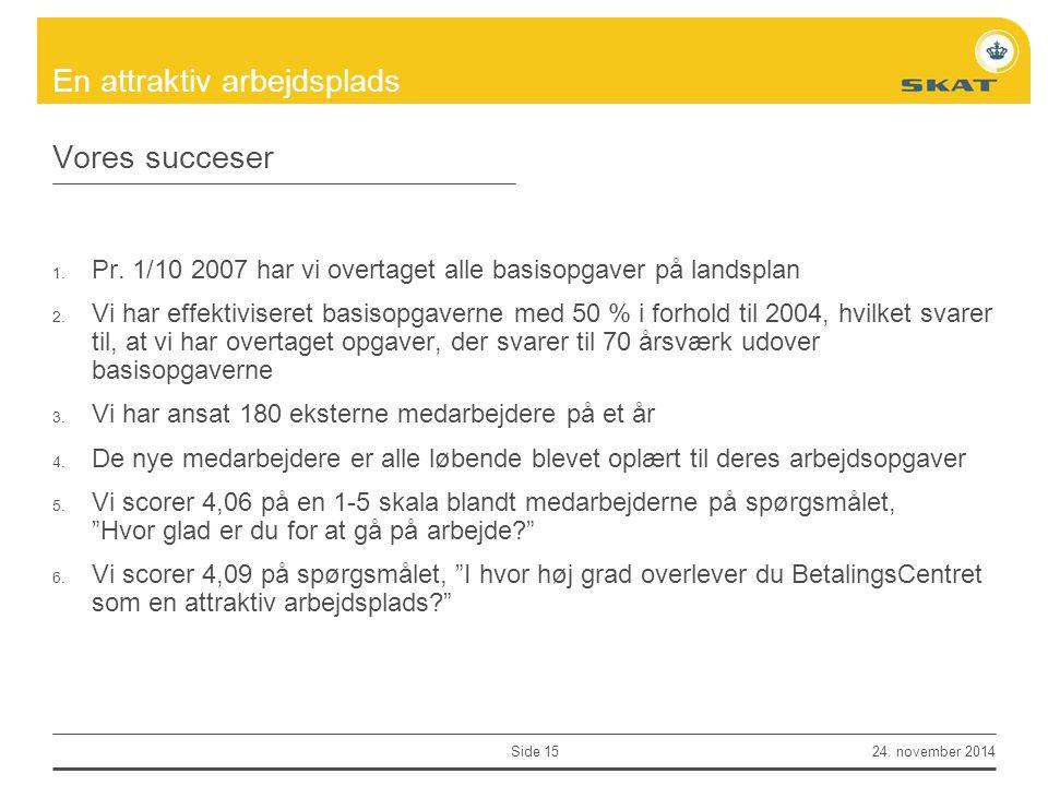 Vores succeser Pr. 1/10 2007 har vi overtaget alle basisopgaver på landsplan.