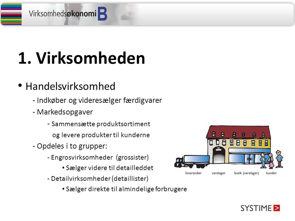 1. Virksomheden Handelsvirksomhed Indkøber og videresælger færdigvarer