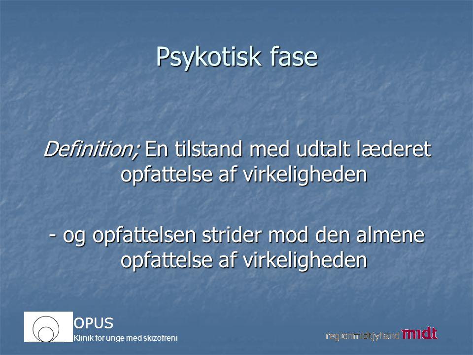 Psykotisk fase Definition; En tilstand med udtalt læderet opfattelse af virkeligheden.