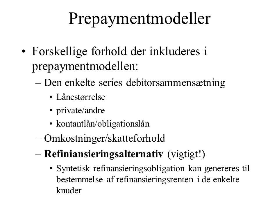Prepaymentmodeller Forskellige forhold der inkluderes i prepaymentmodellen: Den enkelte series debitorsammensætning.