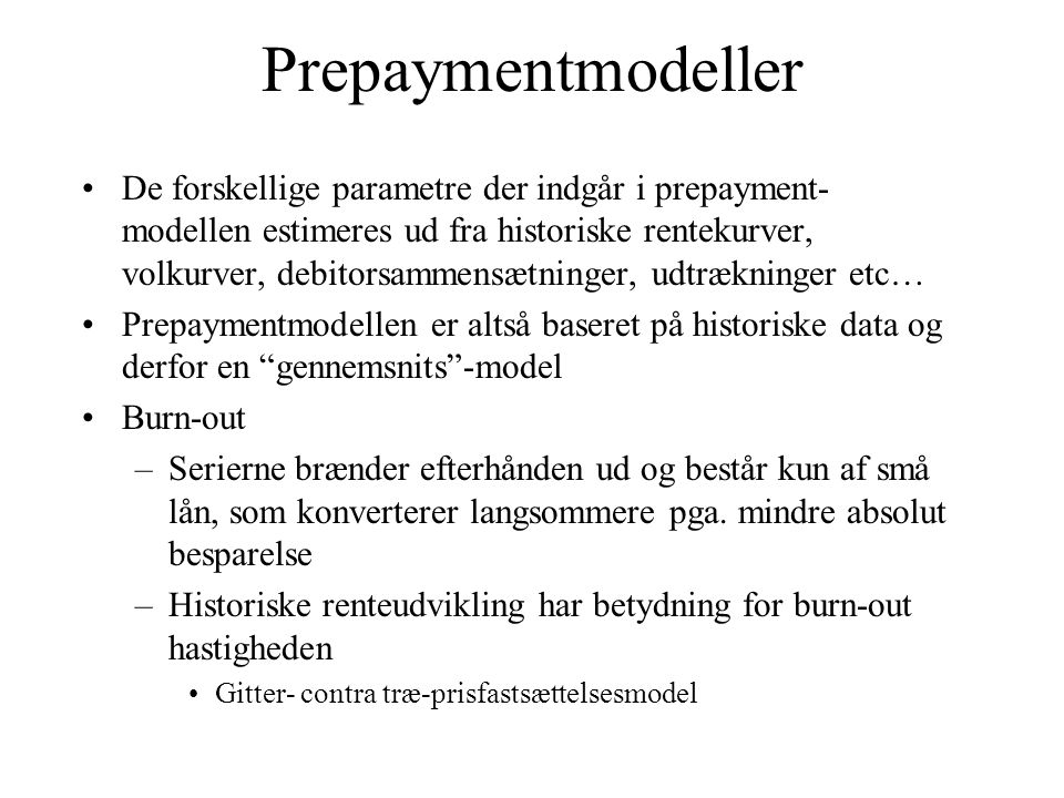 Prepaymentmodeller