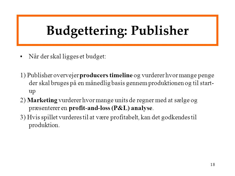 Budgettering: Publisher