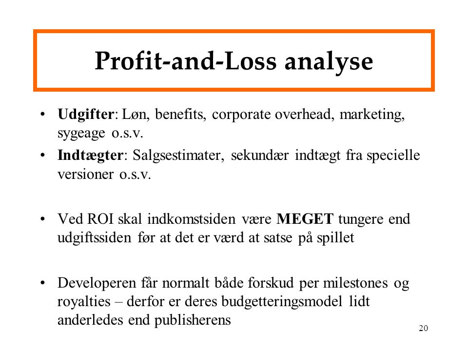 Profit-and-Loss analyse