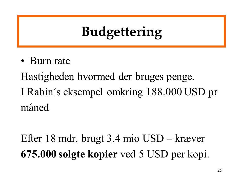 Budgettering Burn rate Hastigheden hvormed der bruges penge.