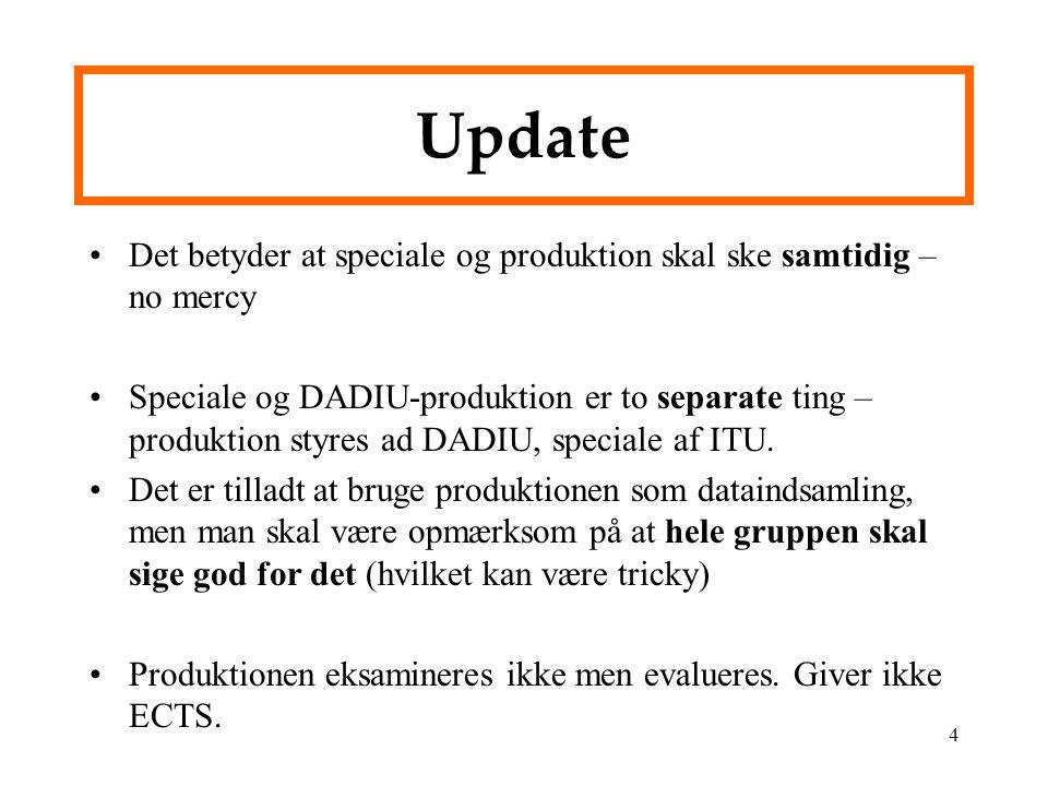 Update Det betyder at speciale og produktion skal ske samtidig – no mercy.