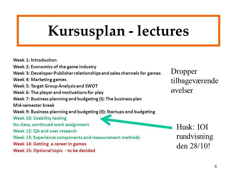 Kursusplan - lectures Dropper tilbageværende øvelser