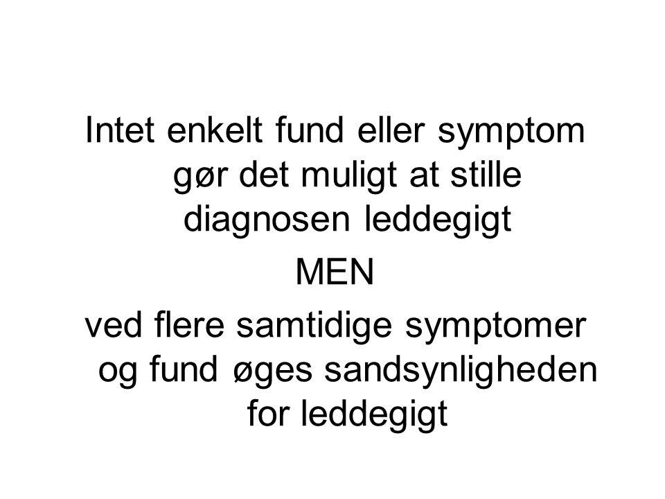 Intet enkelt fund eller symptom gør det muligt at stille diagnosen leddegigt