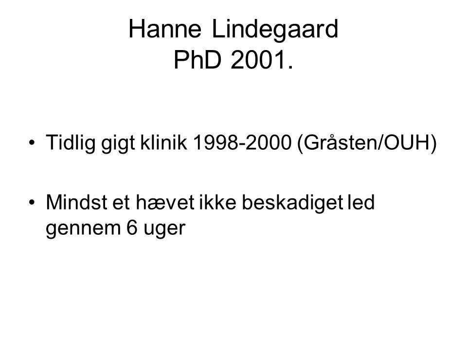 Hanne Lindegaard PhD 2001. Tidlig gigt klinik 1998-2000 (Gråsten/OUH)