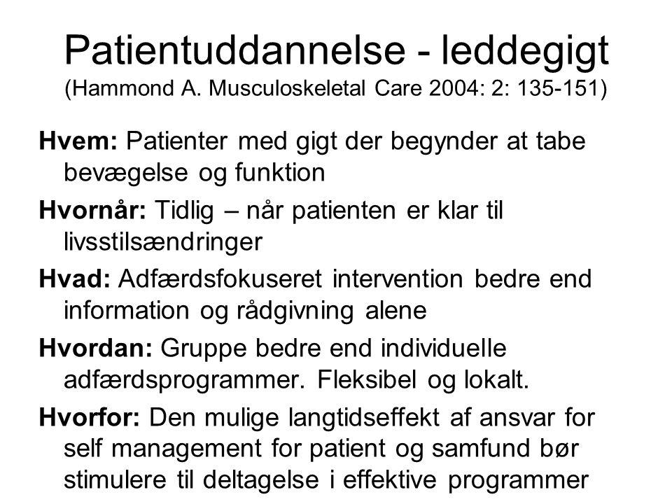 Patientuddannelse - leddegigt (Hammond A